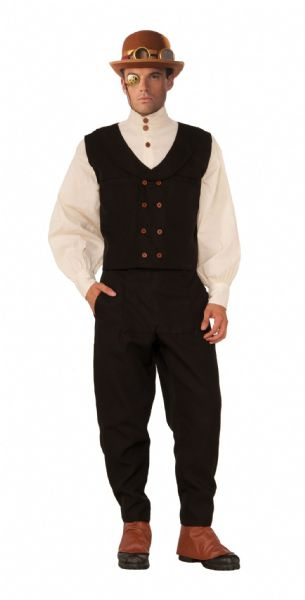Adult Steampunk Vest Black Costume Steam Punk Victorian Adventurer Fancy Dress Outfit